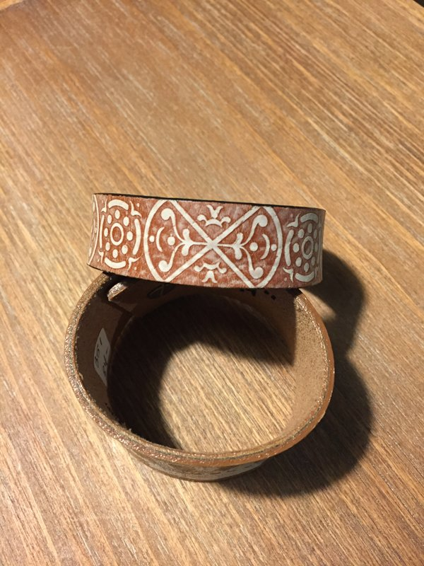 SOLD Simple Printed Leather Cuff- Size 7 5/8""