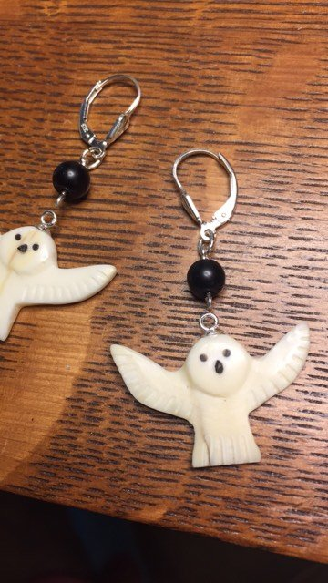 Marcella W- Snowy Owl Earrings
