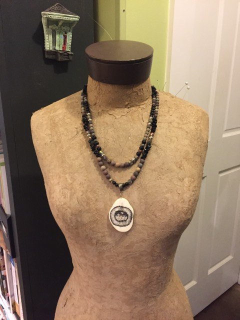 Marcella W- Scrimshaw Focal Piece with Two Faces Necklace