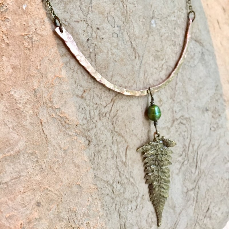 Hammered Copper Fern Frond and Green Pearl Necklace