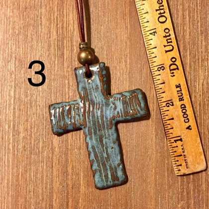SOLD Cross Necklace with Pottery Focal Piece made from Alabama Clay