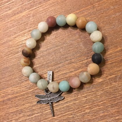 Matte Amazonite Beads with Dragonfly Charm-One Size fits Most