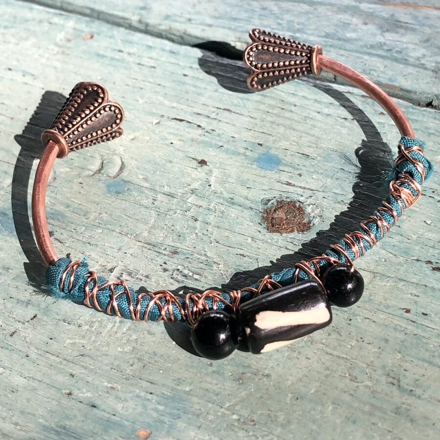 Boho Copper Cuff with Vintage Teal Fabric and Tribal Beads