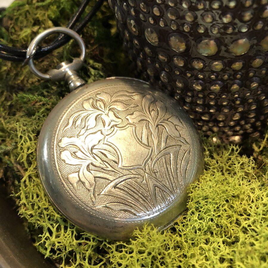 SOLD Antique Pocket Watch Case Necklace with Antique Jet Black Rose