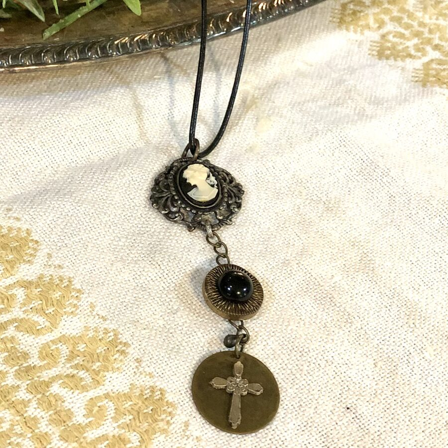 Mixed Metal and Black Cameo Necklace