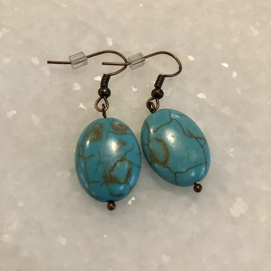 Earrings with Turquoise Colored Oval Stones