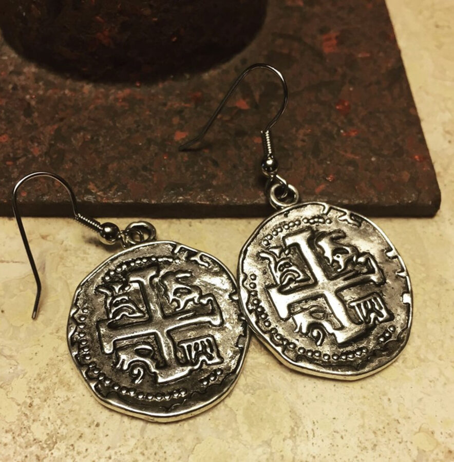 SOLD Silver Color Metal Old World Coin Replica Earrings