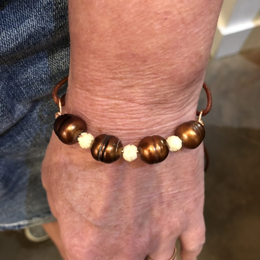 Copper, Pearls, Carved Bone, and Leather Boho Bracelet