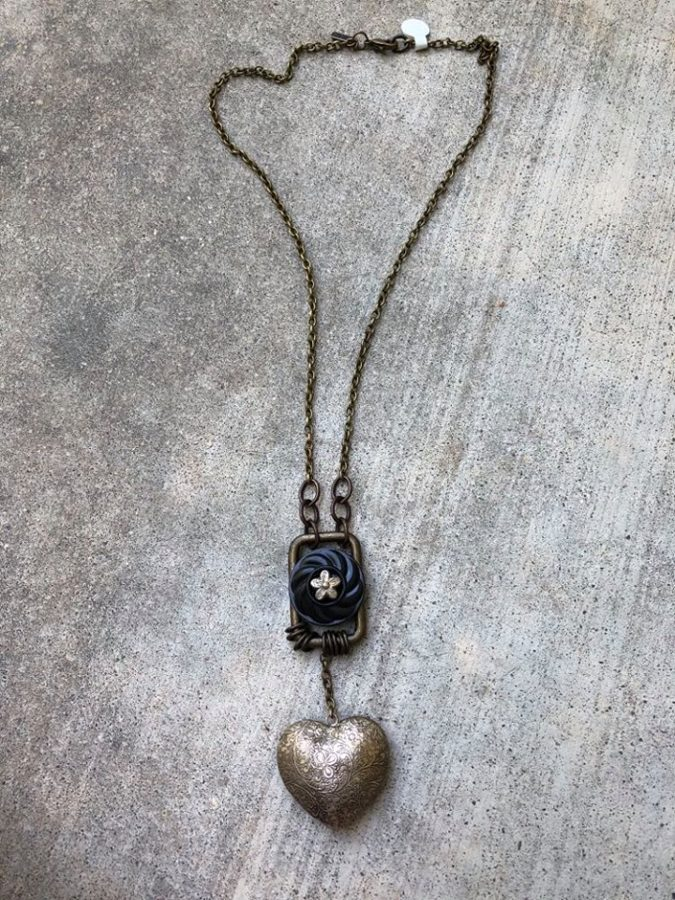 SOLD Vintage Puffy Heart with other Found Objects