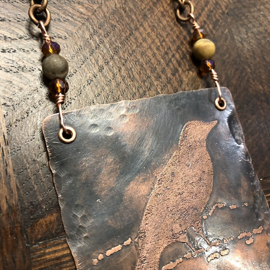 SOLD Copper Necklace - Crow