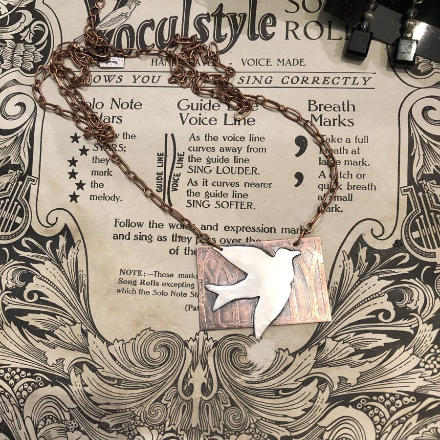 Bird on Gothic Arch Church Window in Sterling Silver and Copper Necklace