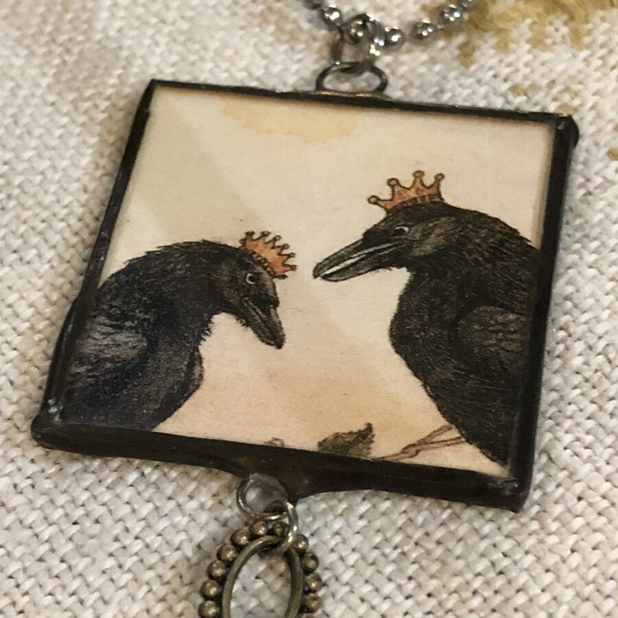 Vintage Black Crows Necklace by Judy Pimperl