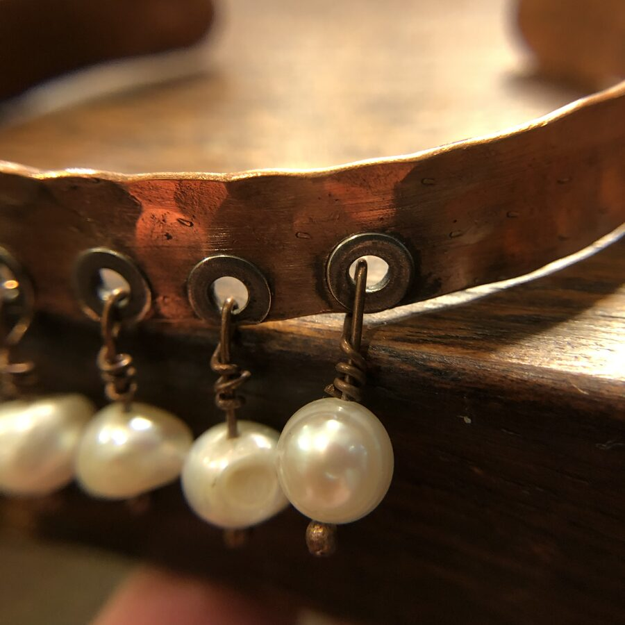 Hammered Copper Cuff with Freshwater Pearls