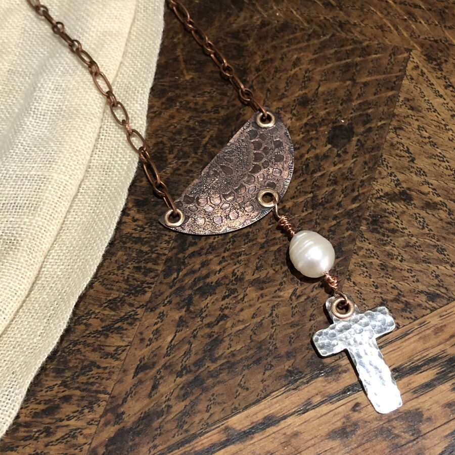 Church Window and Cross in Copper and Sterling Silver Necklace