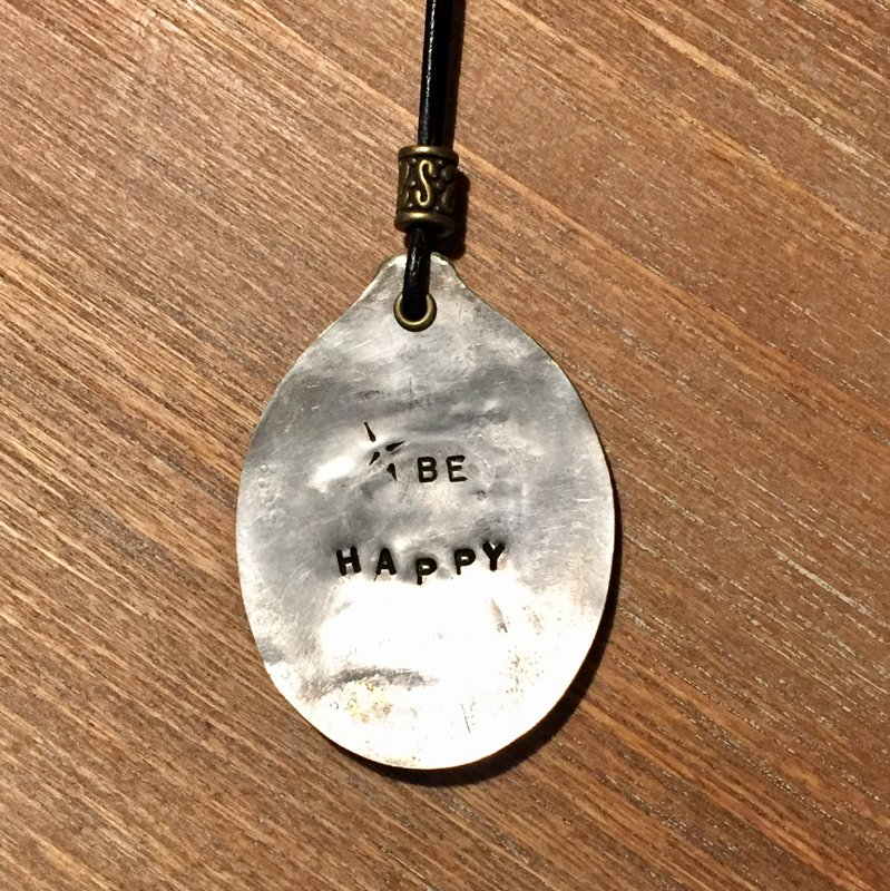Silver Plated Recycled Smashed Spoon Necklace (Large) Item #5049