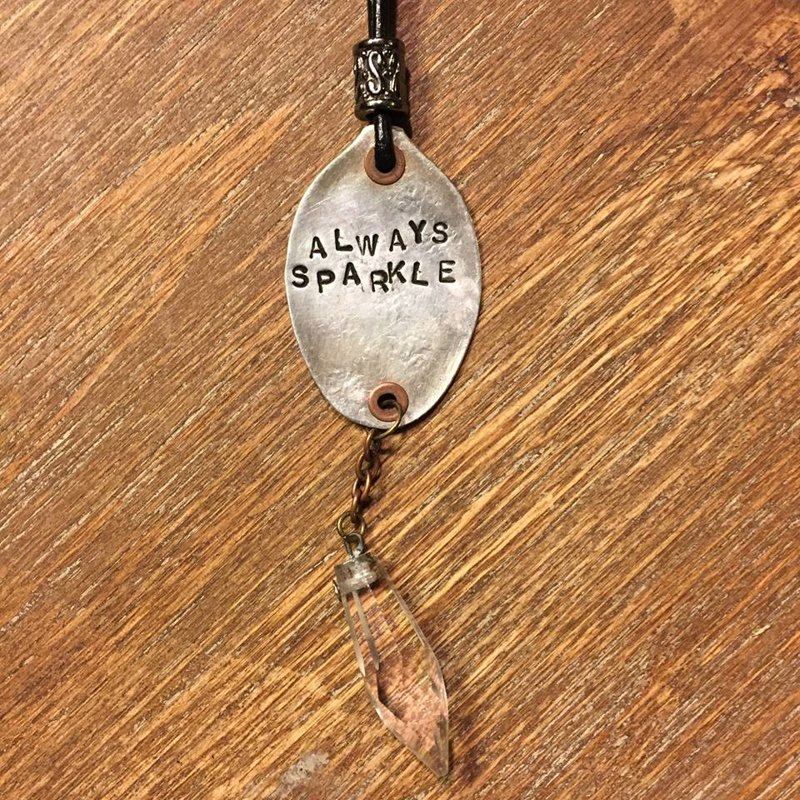 SOLD Silver Plated Recycled Smashed Spoon Always Sparkle Necklace