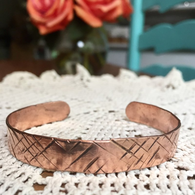 SOLD Hammered Copper Cuff- One Size Fits All