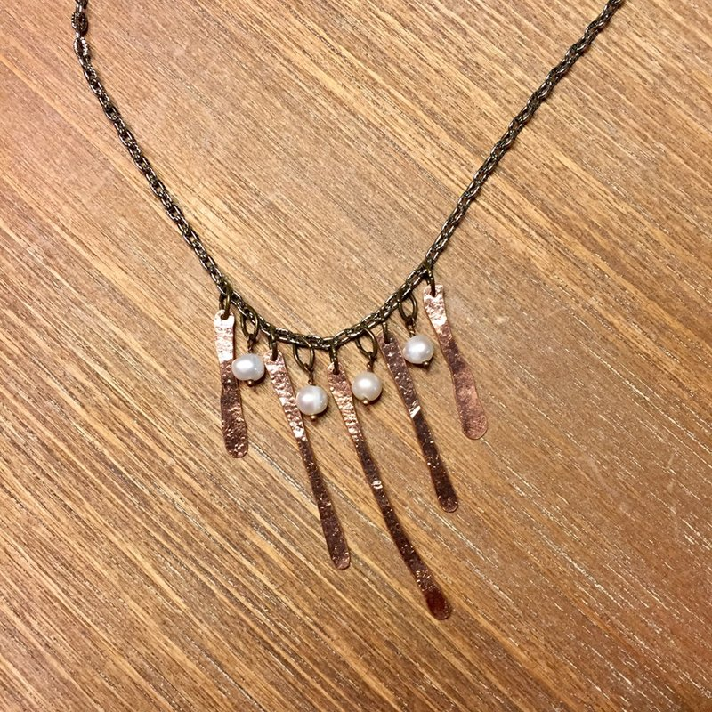 Hammered Copper Paddles with Pearls Necklace