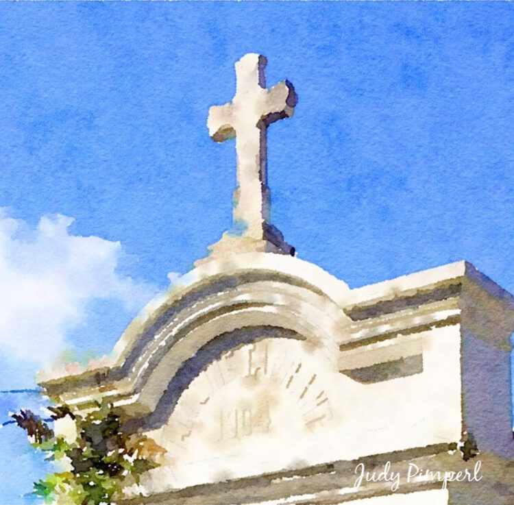 "Cross Monument in Lafayette Cemetery Number 1 - 8"" x 8"" Canvas"