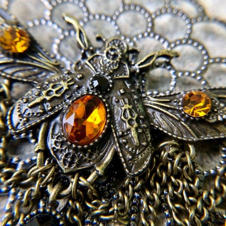 """SOLD Statement Bee on """"Honeycomb"""" Necklace"""
