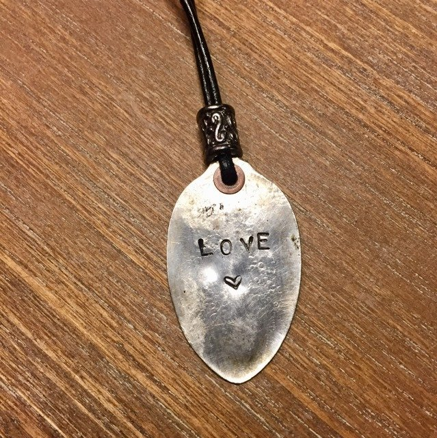 SOLD Silver Plated Recycled Smashed Spoon Necklace (Small) Item #7058