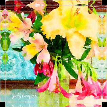 "Flower Bouquet 1 on Canvas 8"" x 8"""
