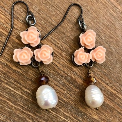 SOLD Peachy Rose and Large Freshwater Pearl Earrings