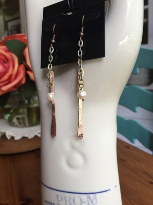 SOLD Hammered Copper and Pearl Earrings