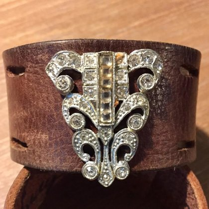 SOLD Vintage Art Deco Rhinestones and Worn Leather- Size 8""