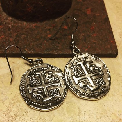Silver Color Metal Old World Coin Replica Earrings