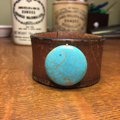 """SOLD Vintage Leather Cuff with Turquoise Colored Stone Bead- Size 7 5/8"""""""