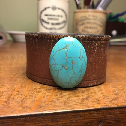 """SOLD Vintage Leather Cuff with Turquoise Colored Stone Bead- Size 8 1/4"""""""