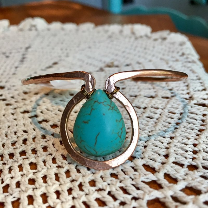 SOLD Hammered Copper Cuff with Turquoise Colored Stone Bead