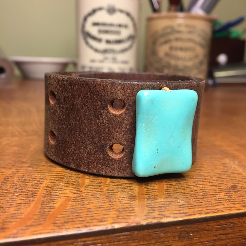 """SOLD Vintage Leather Cuff with Turquoise Colored Stone Bead- Size 7"""""""