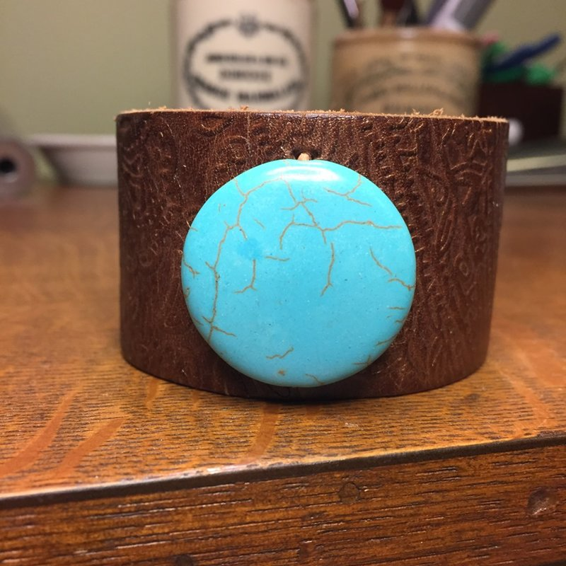 """SOLD Recycled Leather Cuff with Turquoise Colored Stone Bead- Size 7 1/4"""""""